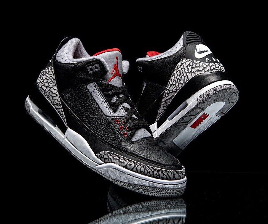 Nike Air Jordan Retro III 3 OG BLACK CEMENT 2018 Women's Sz 5 854262-001 GS 3.5