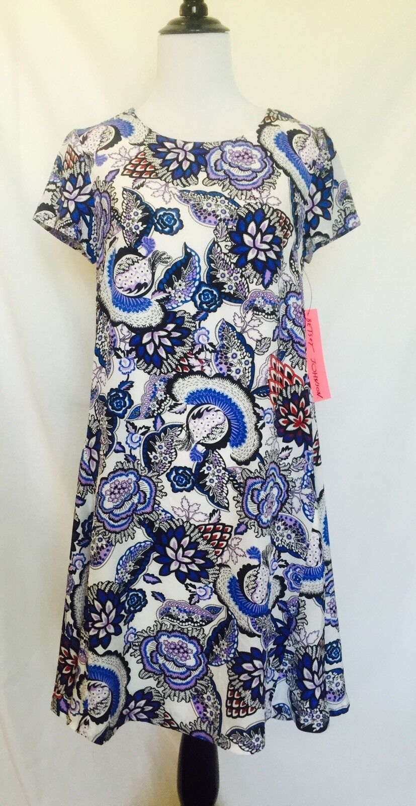 Betsey Johnson Flowered Print bluee & Red Dress Size 2 NWT Retail  Price