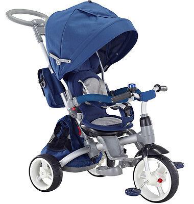 Unito Triciclo Passeggino Con Seggiolino Reversibile 6 In 1 Modi New Blu Modellazione Duratura