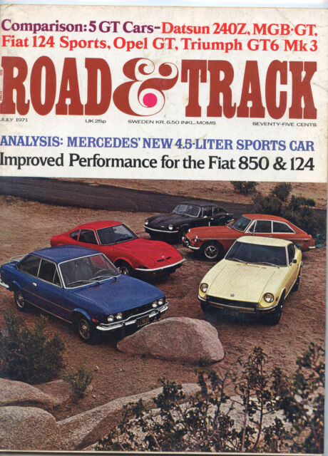 July 1971 Road & Track Magazine Five Grand Touring Cars Cover
