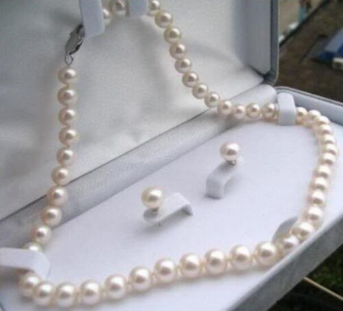 """7-8mm Real Natural White Akoya Cultured Pearl Necklace Earrings Jewelry Set 18/"""""""