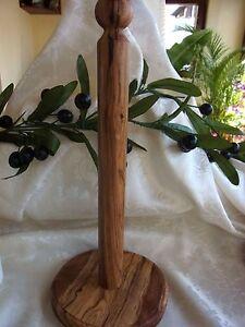 Olivenholz-Haushaltstuch-Rollenhalter-Olivenoel-Handarbeit-ca-36-cm-Hoehe