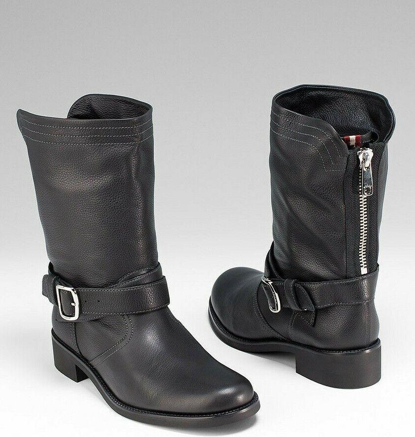 New BALLY SWITZERLAND *TARJA* Black Leather BIKER ANKLE Boots EUR-37.5 US-8