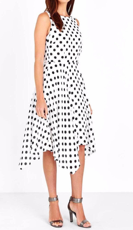 BNWT Wallis Ivory Polka Dot Print Hanky Hem Dress 12
