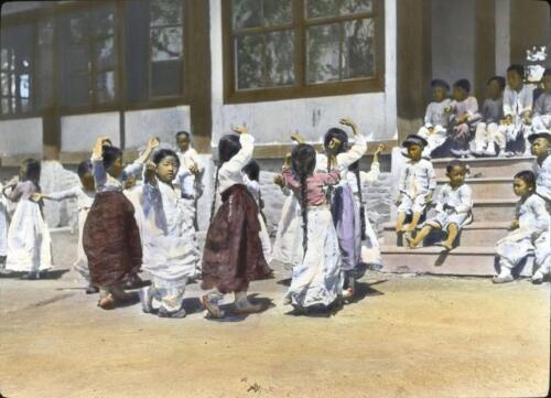 Kindergarten Students Playing Games In Yard Photo Korea 1910s