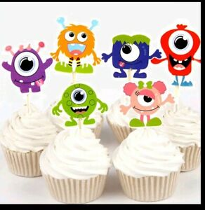 Brilliant 12 X Monster Alien Cake Picks Flags Birthday Cupcake Toppers Funny Birthday Cards Online Overcheapnameinfo