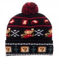 Nintendo Super Mario Bros 8-bit Pixel Pom Beanie Winter Hat Cap Video Game Block