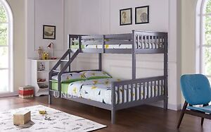 Triple Bunk Bed Solid Pine Wood Frame Children Kids Bed Mattress Various Colours