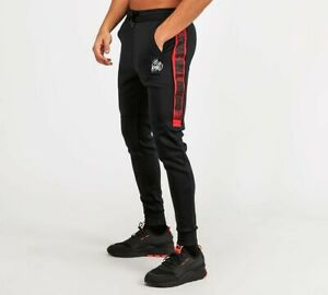 Kings-Will-Dream-KWD-Mens-New-Tracksuit-Bottoms-Poly-Joggers-Black-Red-Rallor