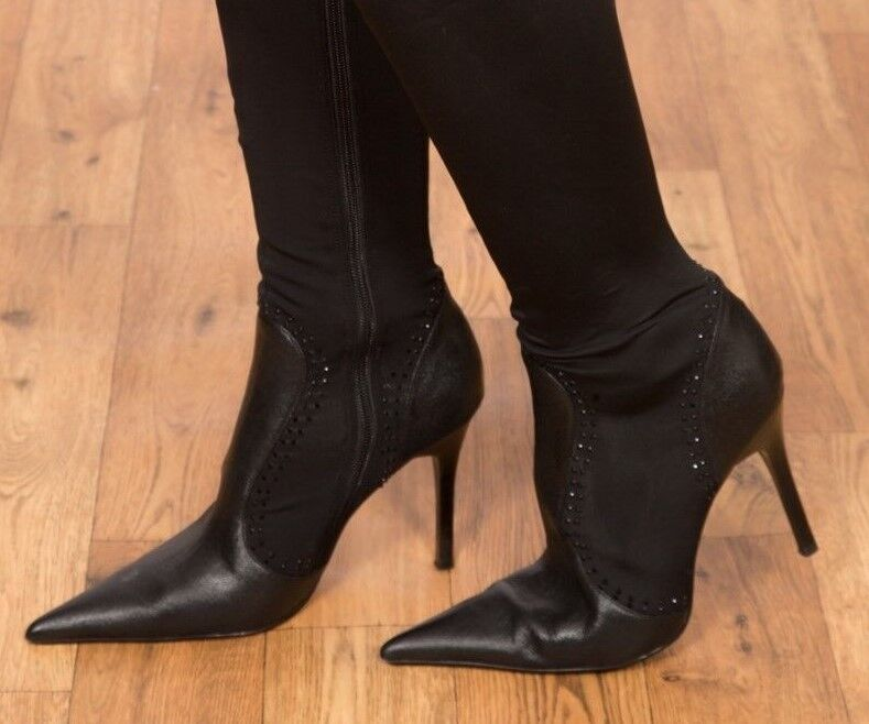 Sexy the black wet look over the Sexy knee crystal studded Kate Kuba Boots size 6 4a45d4