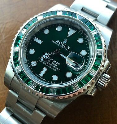 Green Ceramic HULK Rolex Submariner Diamond and Emerald Bezel 116610LV ,NO  WATCH