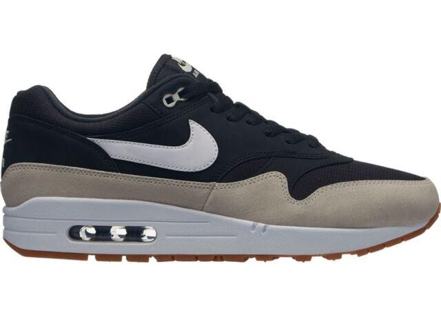 Mens Nike Air Max 1 Black Light Bone White AH8145 009