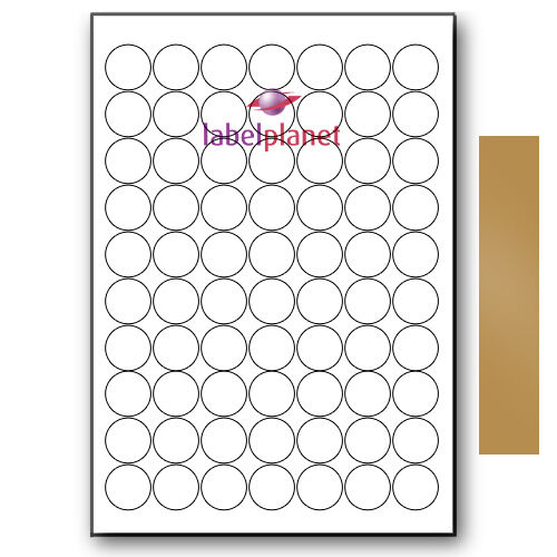 70 Per Page A4 Metallic Gold Round Circular Sticky Labels//Stickers Label Planet®