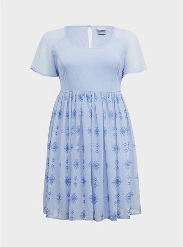 TORRID Disney Frozen 2 Elsa Snowflake Light Blue shimmer Chiffon Dress 2X  20