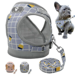Reflective-Mesh-Padded-Small-Dog-Harness-and-Leash-Pet-Puppy-Cat-Vest-Pink-Gray
