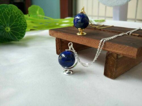 Collier Pendantif Globe Terrestre Perle Lapis Lazuli Bleu Argent Massif 925 CY9
