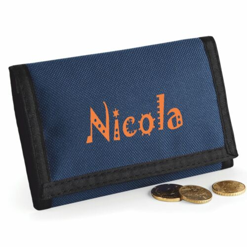 Printed with Name Navy Blue Rip Style Wallet