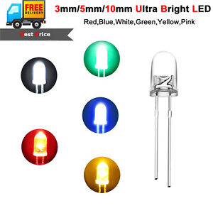 50pcs-Ultra-Bright-LEDs-3mm-5mm-10mm-Red-Blue-White-Yellow-Green-Pink-Warm-White