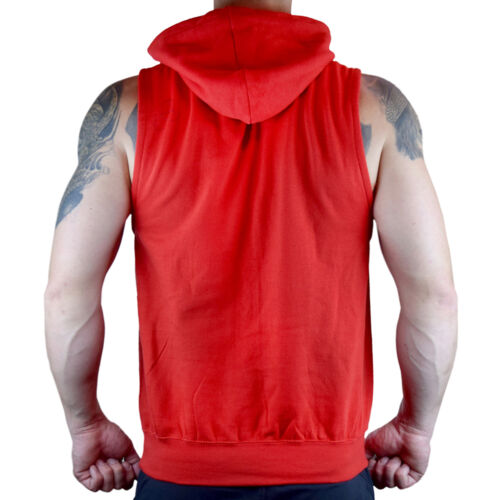 Men/'s No Pain No Gain Red Sleeveless Vest Hoodie Workout Fitness Gym Flex Fit