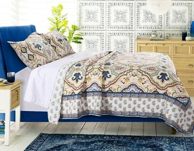MONTE CARLO Full / Queen QUILT SET : BOHO BLUE YELLOW FLORAL EXOTIC GEOMETRIC