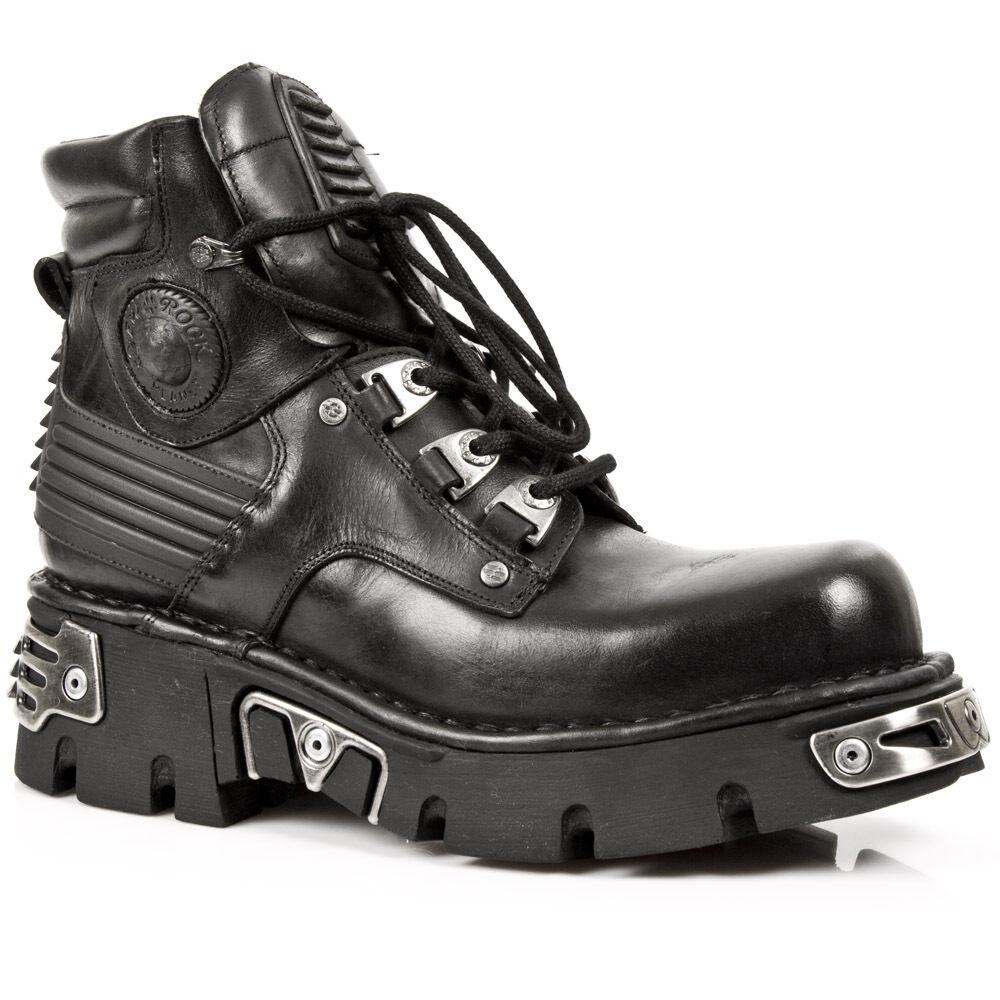 Negro Nuevo botas Media de rock con cordones y reactorsole M.924-S1