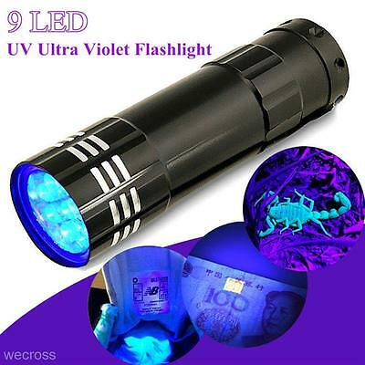 Portable 9LED Mini UV Ultra Violet Medical Device Pen Torch Flash Light AAA Lamp