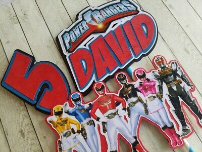 Super Inspired Personalised Power Rangers Birthday Cake Topper Funny Birthday Cards Online Inifodamsfinfo