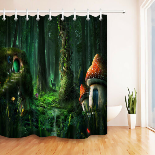 """Dream Forest Mushroom House Shower Curtain Liner Waterpoof Fabric /& Hook 72x72/"""""""