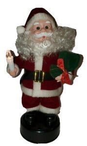 Vintage Musical Santa Jingle Bell Tune Candle Lights Up Gift Bag Christmas Decor