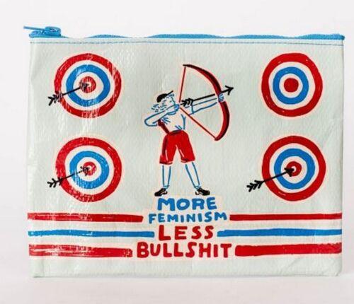 "Blue Q /""More Feminism Less Bullshit/"" large zipper pouch case bag recycled archer"