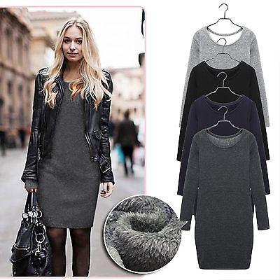 Fashion Women Winter Long Sleeve Thick Velvet Warm Dress M L XL XXL Plus Size