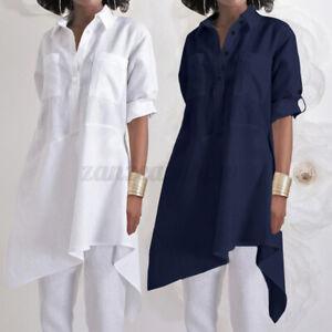 Mode-Femme-Chemise-Revers-Manche-Longueur-Ajustable-Ourlet-irregulier-Haut-Plus