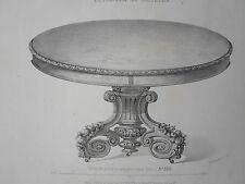 Table salle à manger vieux bois GRAVURE le MAGASIN de MEUBLES V. QUETIN XIXéme
