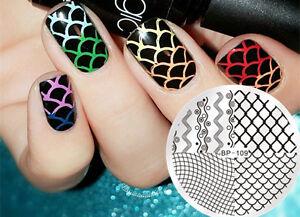 Born-Pretty-Nail-Art-Stamping-Image-Plates-Stencil-Wave-Line-Net-DIY-BP-109