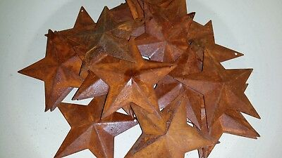 """Star Hang Hole 1-1//2/"""" Rusted Country Barn Stars Lot of 25 Rusty 1.5/"""" 3D"""