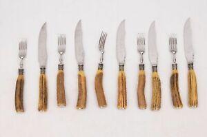 Scottish 10-piece John Munro Antler-Handled Cutlery Set in Cedar Cigar Box