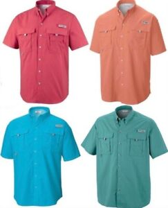 NEW-Mens-Columbia-Bahama-II-PFG-Short-Sleeve-Fishing-Shirt-Omni-Shade-Vented-UPF