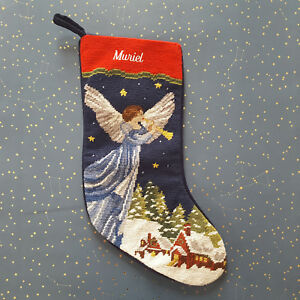 Lands End Christmas Stockings.Details About Lands End Needlepoint Christmas Stocking Muriel Angel Monogrammed New