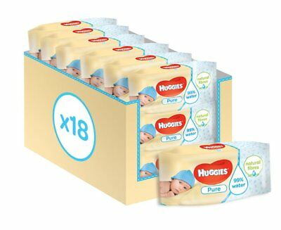 Huggies Pure Baby Wipes 18 Packs Pack of 10 1008 Wipes Total