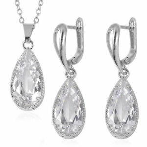 Silvertone-Cubic-Zirconia-CZ-Earrings-Pendant-Necklace-Gift-Set-20-034-Cttw-7-4