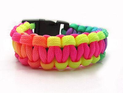 Rainbow Color  Paracord Parachute Cord Emergency Survival Bracelet