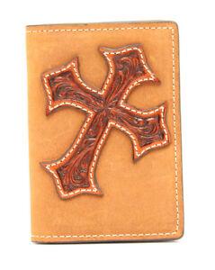 NOCONA-BROWN-Tooled-CROSS-Leather-BUSINESS-CARD-HOLDER-Bi-fold-License-Window-16