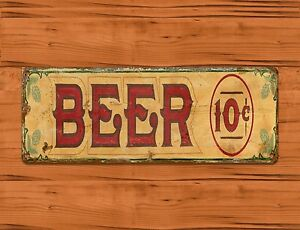 Image Is Loading TIN SIGN 034 Beer 10 Cents Alcohol