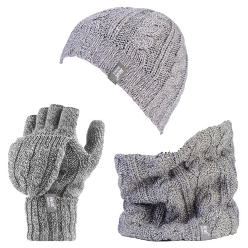 Ladies Thermal Hat Neck Warmer Converter Fingerless Gloves Set Heat Holders