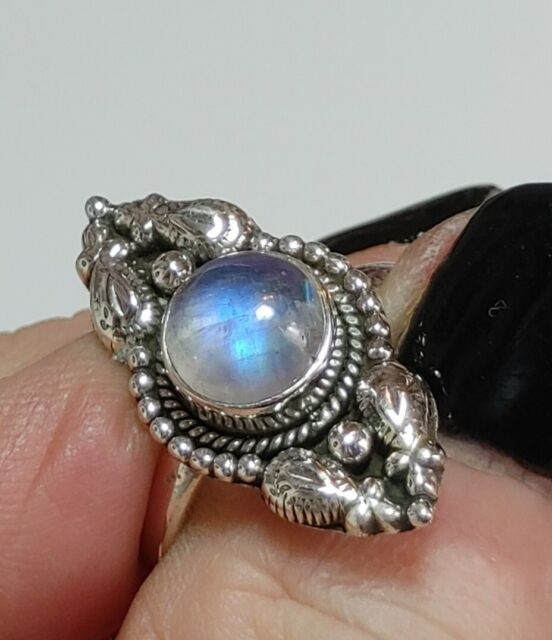 * MOONSTONE RING * .925 Solid Sterling Silver, Size 8