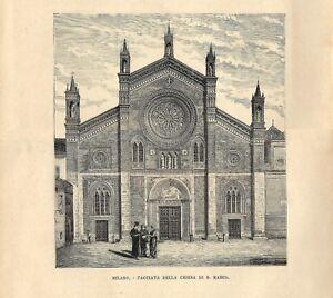 Stampa-antica-MILANO-Chiesa-di-San-Marco-1885-Antique-print