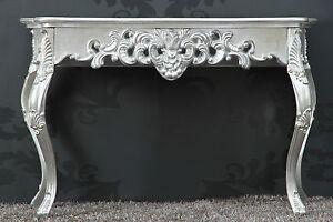 Konsole-Wandtisch-SILBER-Antik-Finish-Luxurioes-prunkvoll-Sideboard-Barock-Rokoko