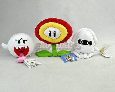 "Lot 3 New Super Mario Bros 4-7"" Ghost Sun flower Blooper Plush Toy Doll MX1985"