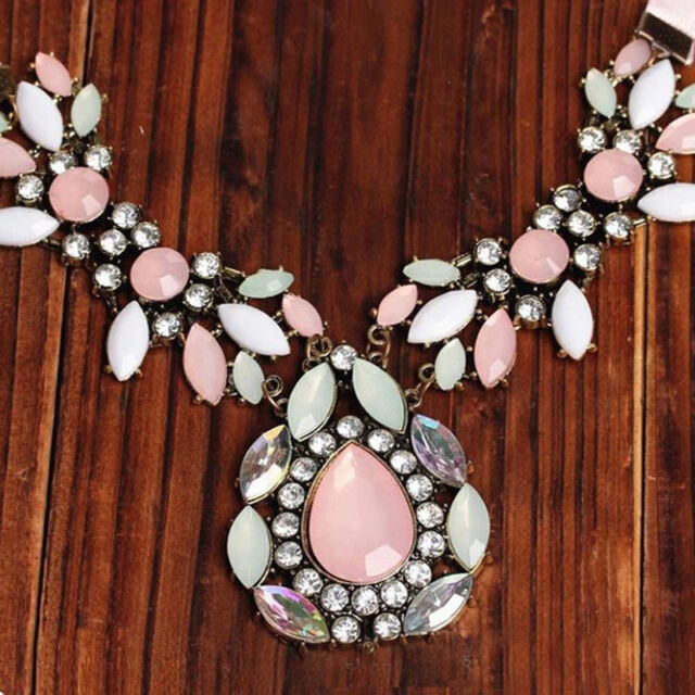 Fashion Crystal Necklace Charm Chain Choker Chunky Jewelry Statement Bib Pendant