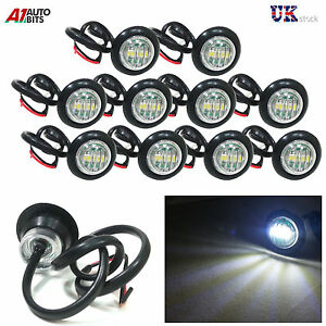 10X-24V-OUTLINE-ROUND-SIDE-MARKER-LED-WHITE-LIGHTS-LAMPS-FOR-LORRY-TRAILER-TRUCK